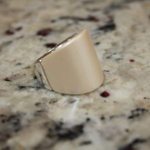 CREAM AND SILVER RING